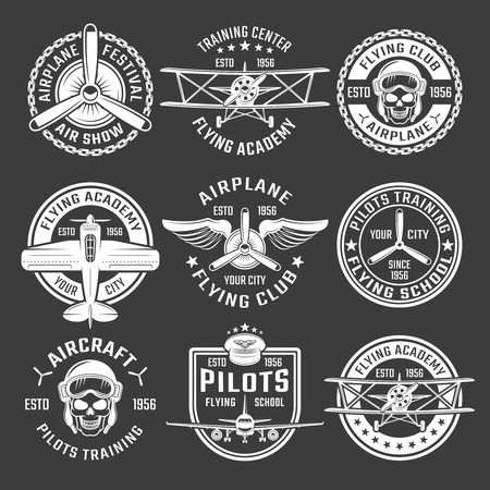 pilots: White color airplane emblem set with description of air show flying school pilots training vector illustration