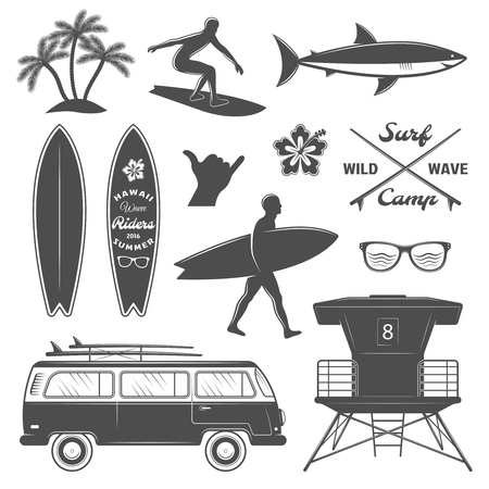 set going: Black surfing isolated icon set with description surf camp wild wawe and surfer going to sea vector illustration Illustration