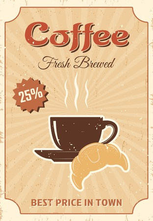 brewed: Coffee colored poster with headline coffee fresh brewed best price in town vector illustration Illustration