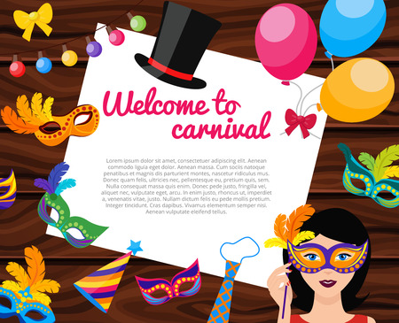 decoration decorative disguise: Welcome to carnival composition with text on white paper sheet festive decorations on wooden background vector illustration
