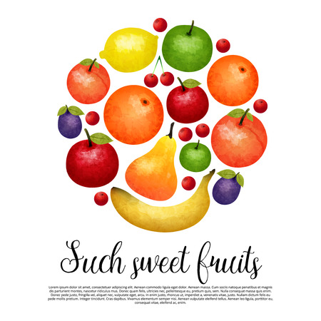aquarel: Aquarel sweet fruit round design with colorful harvest title and text on white background vector illustration
