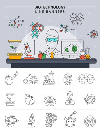 conducting: Biotechnology banner set in linear style scientist conducting experiments in his laboratory at work vector illustration