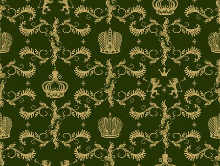 heraldic lion: Royal crown seamless pattern with beige flourish ornament heraldic lion on green background vector illustration