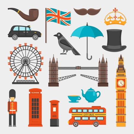 distinctive: London isolated icon set with main attractions of the city and distinctive features vector illustration