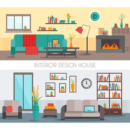Deux compositions intérieures plates de couleur avec deux différents types de vecteurs décoration illustration