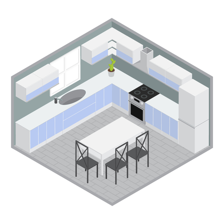 cupboards: Isometric home dining room with white blue cupboards and cabinets table chairs grey walls plant vector illustration