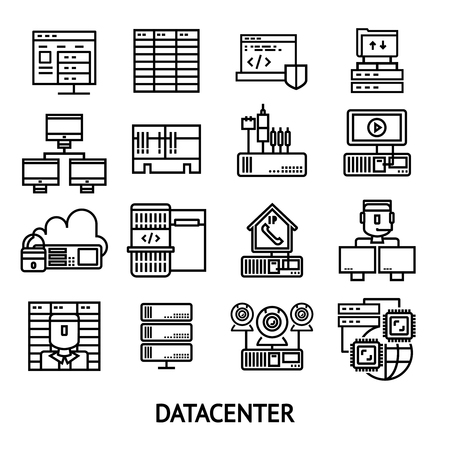 hardware configuration: Datacenter monochrome icons set with data protection cloud storage network server operator workstation internet isolated vector illustration Illustration