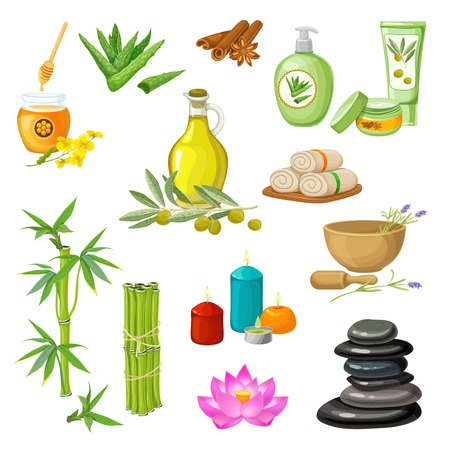 bamboo therapy: Spa salon decorative elements set with honey bamboo olive oil candles cosmetic stone therapy isolated vector illustration Illustration