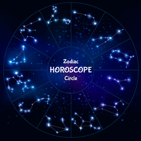 astronomic: Realistic zodiac horoscope in circle shape with collection of astrological constellations on night sky background vector illustration