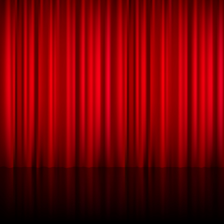 shiny floor: Realistic red theatrical closed curtain of shiny material with reflection on stage floor vector illustration
