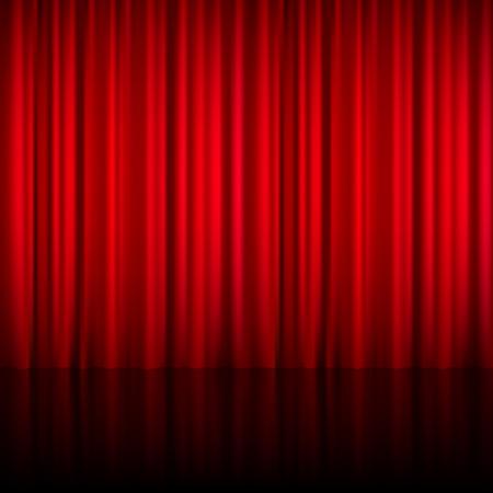 sipario chiuso: Realistico teatrale rossa cortina di materiale lucido chiuso con la riflessione sul palco illustrazione vettoriale piano
