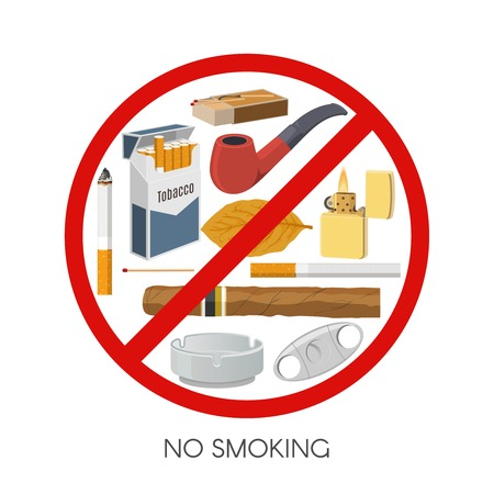 prohibitive: No smoking sign design with tobacco products and accessories inside red prohibitive symbol vector illustration