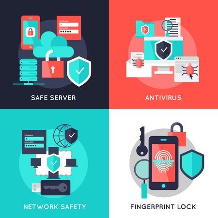 antivirus: Data protection flat compositions with safe server antivirus secure network fingerprint lock isolated vector illustration Illustration