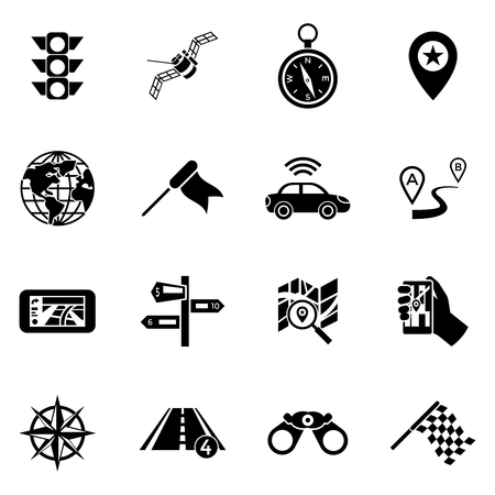 transmitting: Sixteen flat isolated black navigation icon set with means of transmitting information to find a convenient route vector illustration