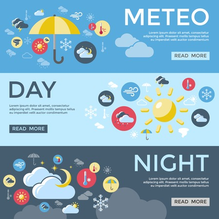 day forecast: Three horizontal weather forecast banner set with meteo day night descriptions and read more buttons vector illustration Illustration
