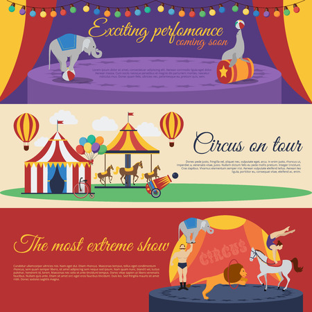 exciting: Circus announcements horizontal banners set with exciting performance tour round extreme show isolated vector illustration Illustration