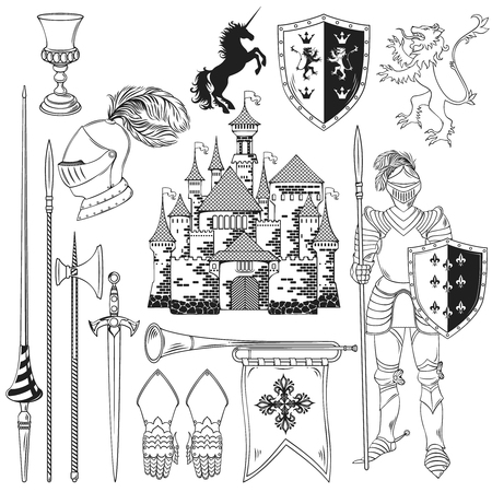 armour: Knight monochrome icons set with heraldic animals flag shield sword armour castle horn isolated vector illustration