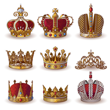 Royal crowns collection of gold and silver jewelry of different types isolated vector illustration
