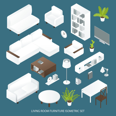 couches: Living room furniture isometric set with sofas bookcase tables lamps tv on blue background isolated vector illustration