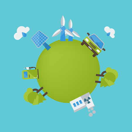 Environment protection design with wind turbine biofuel car solar panel green planet on blue background vector illustration