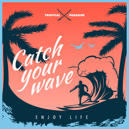 enjoy life: Colored surfing poster with big title white catch the wave enjoy life and surfer on the wave vector illustration