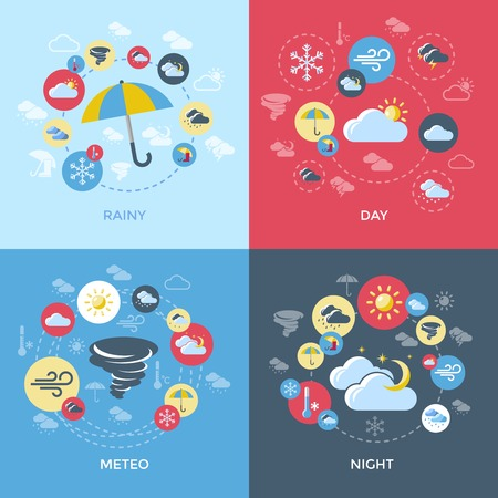 day forecast: Weather forecast compositions with four square icon set on rainy day meteo night themes vector illustration Illustration