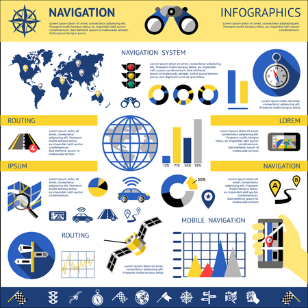 routing: Flat navigation infographics with descriptions of navigation system routing mobile navigation vector illustration