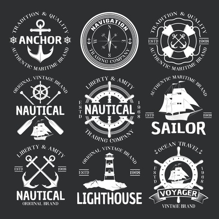 coastal: Nautical emblem set white on black liberty and amity nautical travel company par example vector illustration Illustration