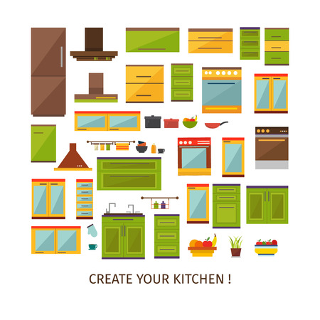 forniture: Kitchen interior decorative elements set with colored forniture utensils household equipment plant fruit isolated vector illustration