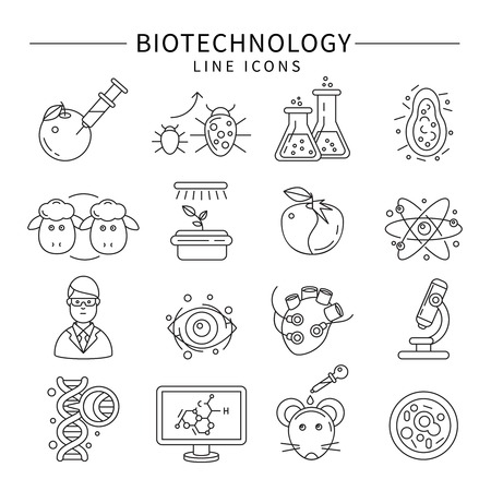 biotech: Biotechnology icon set in linear style isolated carrying out experiments on animals and plants vector illustration Illustration