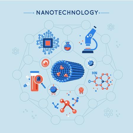 Nanotecnología iconos planos decorativos establecidos con el microscopio estructura de la molécula tubo Elecronics la medicina sobre fondo azul ilustración vectorial