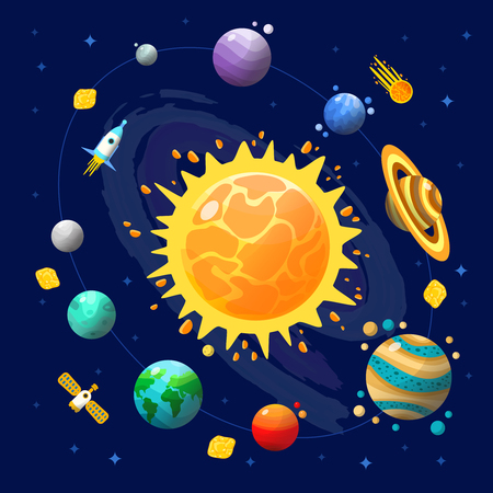 moon rover: Space universe composition with solar system with planets and technology in space vector illustration Illustration