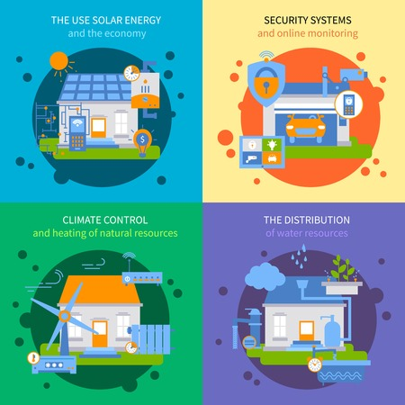 energy distribution: Four square smart house colored icon set with climate control distribution security systems and the use solar energy descriptions vector illustration