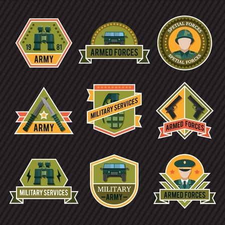 spetial: Flat army emblem set with armed forces spetial forces military services descriptions vector illustration Illustration