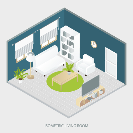 parquet floor: Isometric living room with white and beige furniture round carpet grey parquet floor blue walls vector illustration Illustration