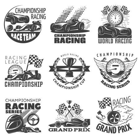 nitro: Racing emblem set with descriptions of championship racing world racing grand prix vector illustration Illustration