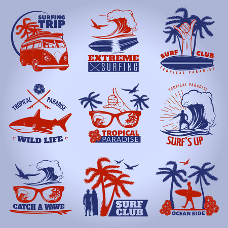 Surfing emblem set on dark with surfing trip extreme surfing tropical paradise wild life descriptions vector illustration