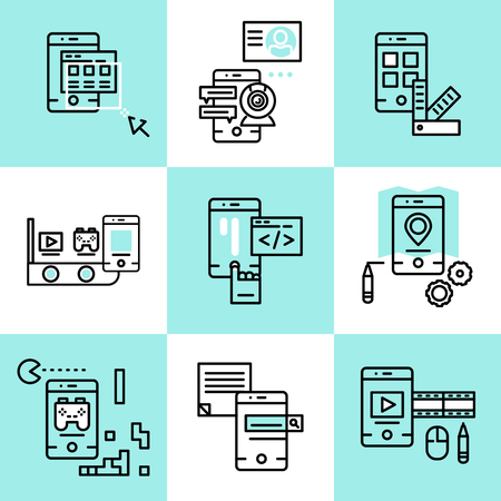 api: Mobile applications linear concept with development api design menu navigation game search video isolated vector illustration