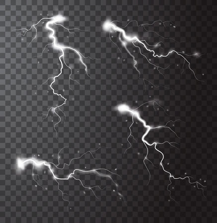 flashes: Thunderstorm realistic elements set with flashes of lightnings and sparks on transparent background isolated vector illustration