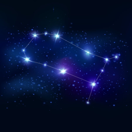 zodiacal symbol: Gemini realistic zodiacal symbol with blue glow stars and connecting lines on cosmic background vector illustration