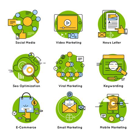 keywording: Green digital marketing concept with descriptions of social mobile viral marketing seo optimization keywording vector illustration Illustration