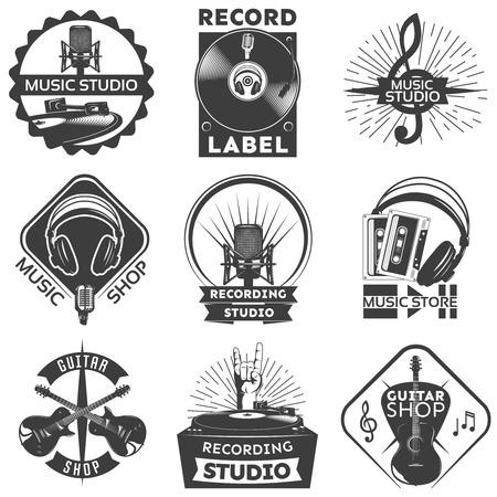 recording studio: Isolated black music shop label set with descriptions of guitar shop music studio recording studio vector illustration