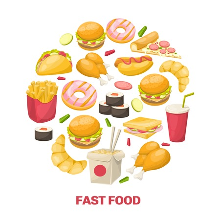 rubdown: Fast food design in circle shape with noodle chicken burger drink croissant sushi taco pizza vector illustration