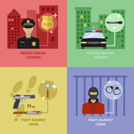 citizens: Police work concept with protection of citizens street patrol fight against crimes isolated vector illustration Illustration