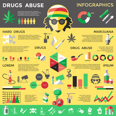 drug abuse: Flat drugs infographics with descriptions of drug abuse type drugs their effect on human vector illustration Illustration