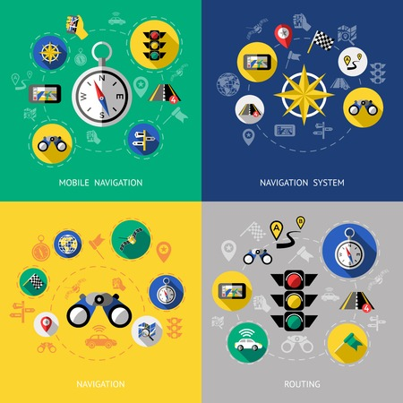 routing: Four flat navigation icon set with descriptions of mobile navigation navigation system routing vector illustration Illustration