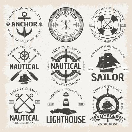 voyager: Nautical emblem set in color with ocean travel voyager nautical sailor lighthouse vintage brands descriptions vector illustration