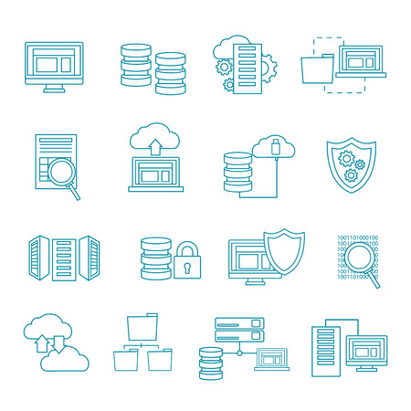 datacenter: Datacenter icon set in linear style with security cloud computers information themes vector illustration