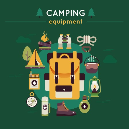 tree service business: Camping green color composition with icon set on hiking and camping theme vector illustration Illustration