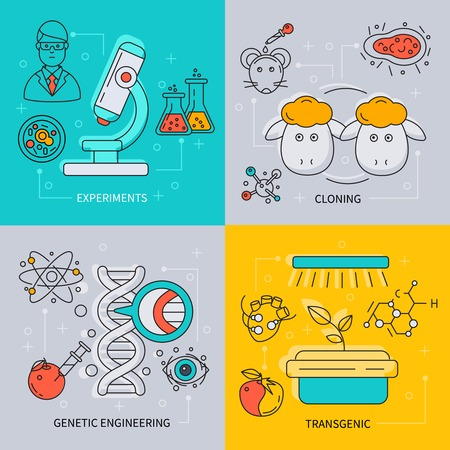 cloning: Biotechnology icon set with descriptions of experiments cloning genetic engineering and transgenic vector illustration